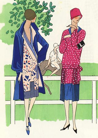 An illustration of women in afternoon dresses at a polo match, 1920s