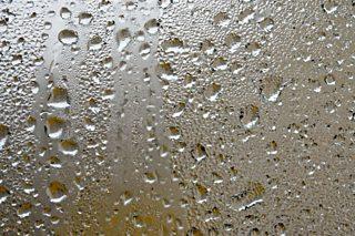 A photo of rain on a window