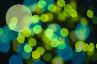 A photo of green light dots
