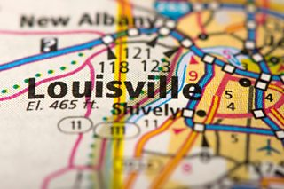 Closeup of Louisville, Kentucky on a road map of the United States