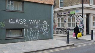 Class war graffiti on a wall in London, 2017