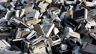 A pile of discarded computers