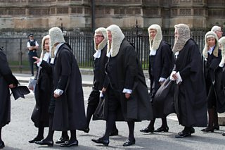 Judges walk from Westminster Abbey to the House of Parliament, London