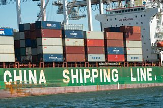 A container ship from China Shipping Line in Australia