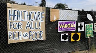 A poster demanding healthcare for everyone, Los Angeles