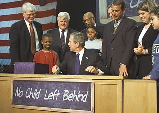 President George W. Bush signs into law the No Child Left Behind Act