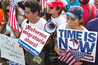 A pro immigration reform rally at the United States Capitol Building, Washington, DC
