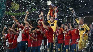 Spanish team winning the European Cup