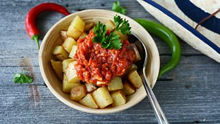Bowl of patatas bravas