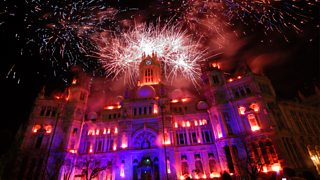 Madrid Town Hall with fireworks
