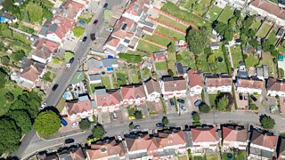 Aerial view of houses in London