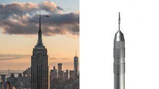 To the left, the New York Empire State building with a helicopter hovering near its tip. To the right, a dentistry drill that looks very similar in shape.