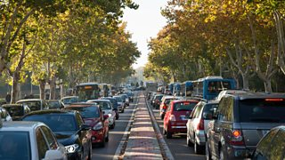 Four lanes traffic jam on treelined road in Madrid