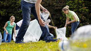 Group of young people collecting litter
