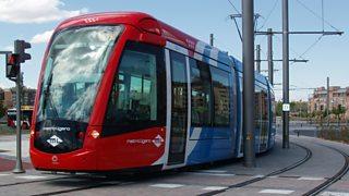 Madrid. Spain. Tram in Sanchinarro. Metro Ligero.