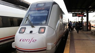 Stationary RENFE train at station