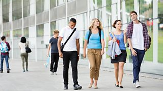 College students walking outdoors