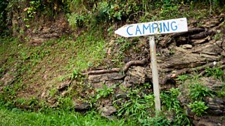 Camping Sign, Mutriku, Basque Country, Spain