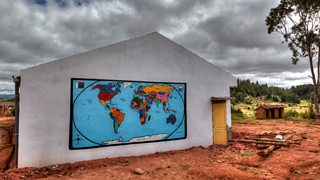 Map of the world painted on the wall of a school