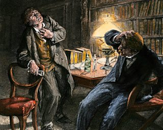 Artistic depiction of Lanyon witnessing the transformation of Jekyll into Hyde