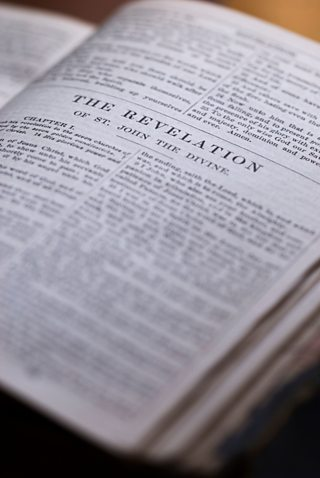 A photo of the Book of Revelation in the Bible