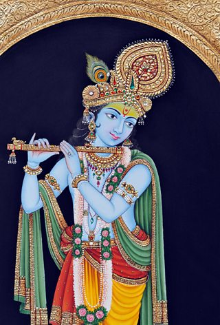 An illustration of the Hindu god of love and compassion - Krishna