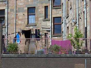 Glasgow tenement back court with washing line Partick area