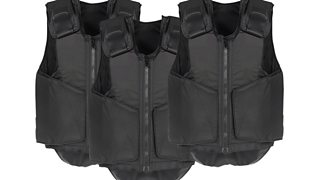 Three black bulletproof vests on a white background.