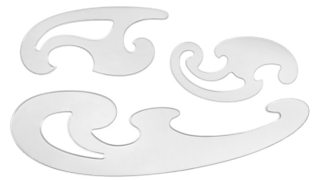 A set of three clear, plastic French curves isolated on a white background.