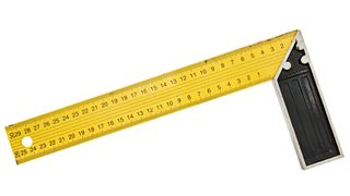 A yellow 30 cm iron ruler with an angle bar set square on a white background.