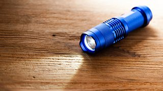 A blue pocket LED torch placed on a wooden table.