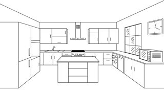 A single point perspective 3D line drawing of a modern kitchen with an island.