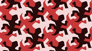 A tessellation pattern of pink and black lizards on a red background.
