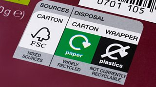 A food packaging label with the Forest Stewardship Council (FSC) logo and recycle logos for paper and plastic.