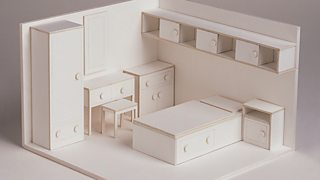 A 3D model of a bedroom with a bed, customised drawers, a dressing table and a wardrobe.