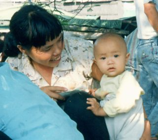 Chinese woman with an infant