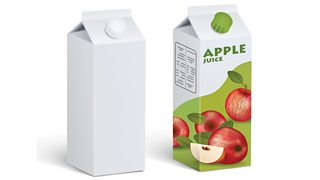 Two angled Tetra Pak cartons - one is blank and one has an apple juice label on it.