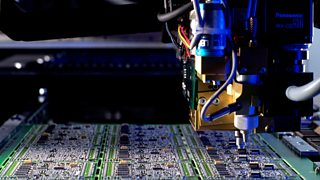 The automated pick and place assembly of electronic components onto a circuit board.