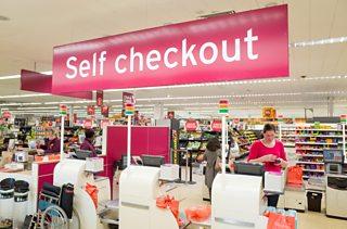 Photograph of the self checkout tills at Sainsbury's supermarket