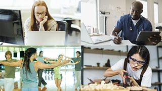 Jobs: business woman, nurse, construction worker, dancer
