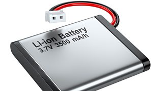 A rechargeable 3.7 volt silver and black lithium-ion battery with connector.