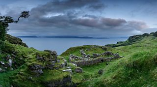 The ruins of the village of Hallaig on the island of Raasay