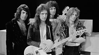 The band Queen about to perform on the Dutch TV show TopPop.