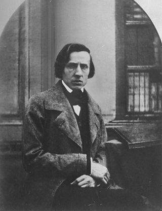 A black and white photograph of Chopin.