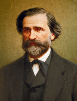 A portrait of Italian composer Verdi.