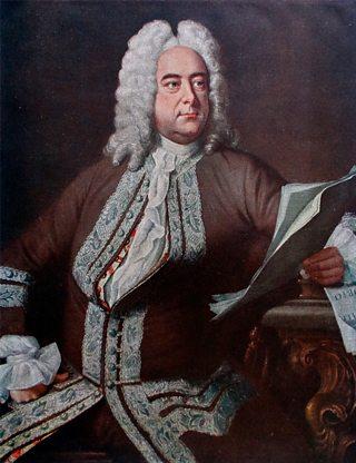 A portrait of Handel holding sheet music.