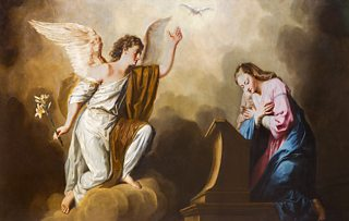 Painting depicting a winged angel in white robes gesturing towards a kneeling Mary