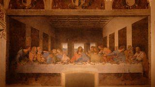 Y Swper Olaf gan Leonardo da Vinci yn ffreutur Lleiandy Santa Maria delle Grazie.