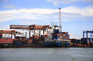 Containers loaded on to a cargo ship