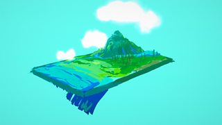 Floating 3d landscape with mountains, water and clouds.